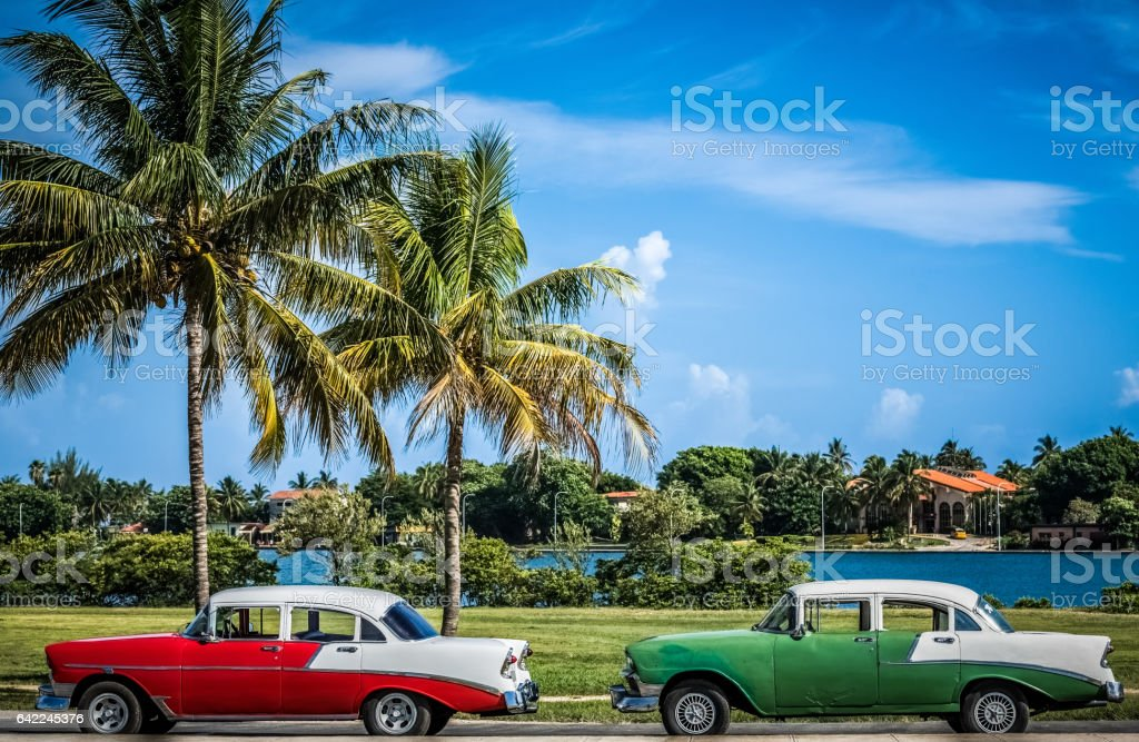 HDR  Two american vintage car parked in Varadero Cuba stock photo