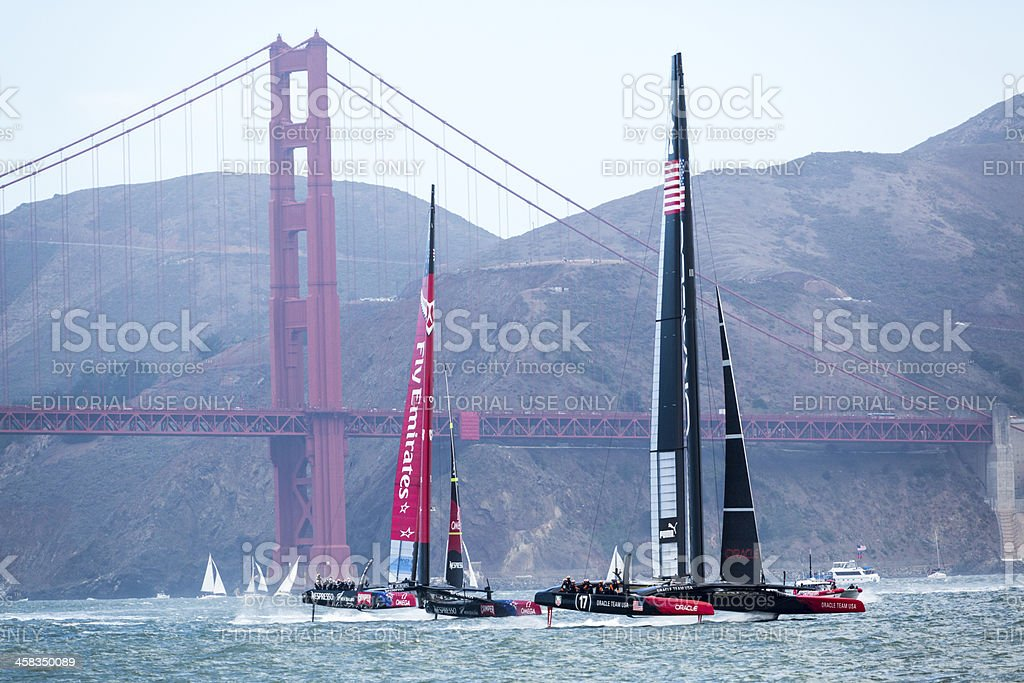 Two America's Cup teams out training stock photo