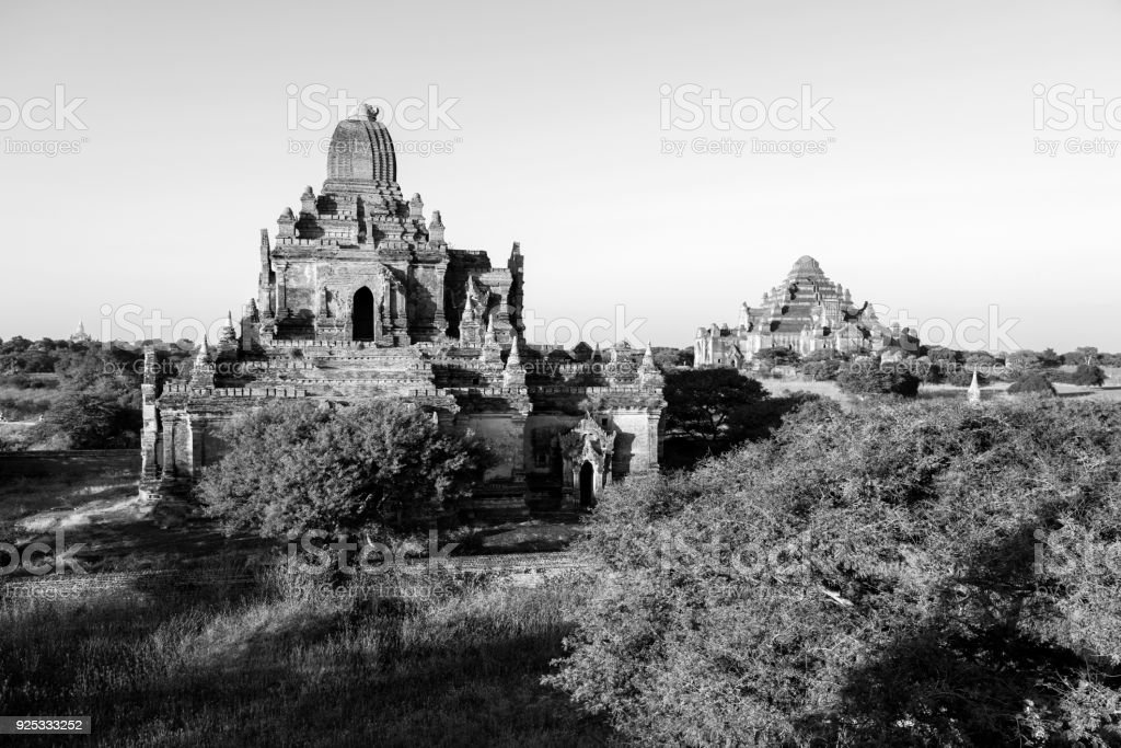 Two ancient Pagodas in Bagan, Myanmar stock photo