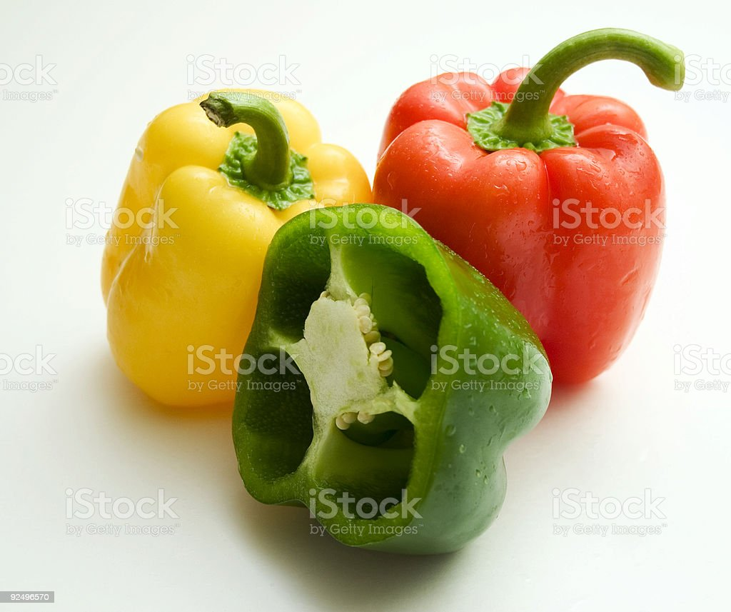Two and a half peppers royalty-free stock photo