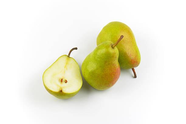 two and half ripe pears - pera foto e immagini stock