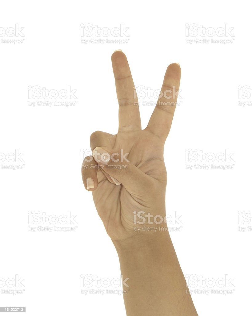 Two and victory sign royalty-free stock photo