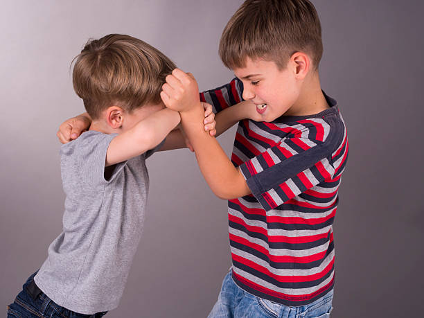 two angry brothers fighting eachother - fighting stock photos and pictures