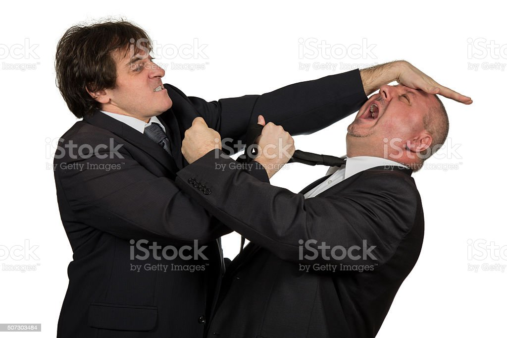 Two angry business colleagues during an argument. stock photo