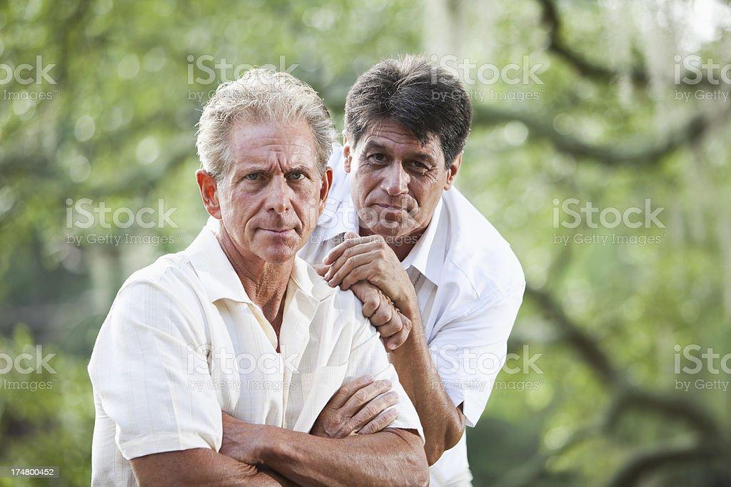 Two annoyed men stock photo