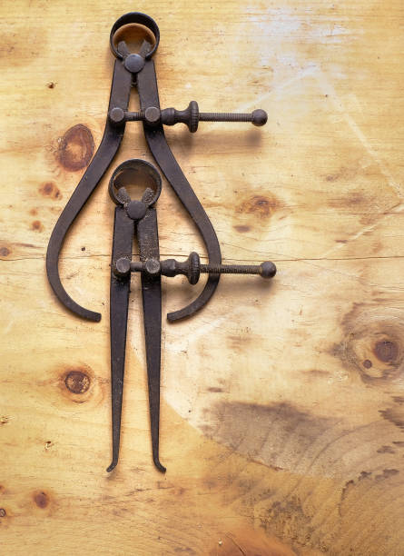 Two Antique Calipers stock photo
