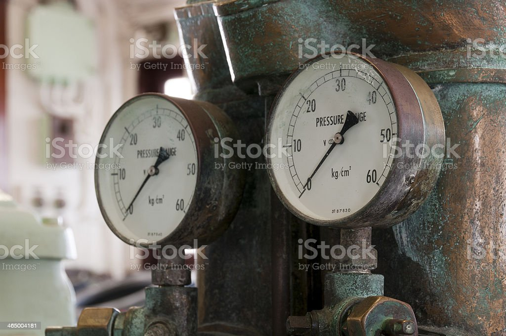Two antique pressure gauges royalty-free stock photo