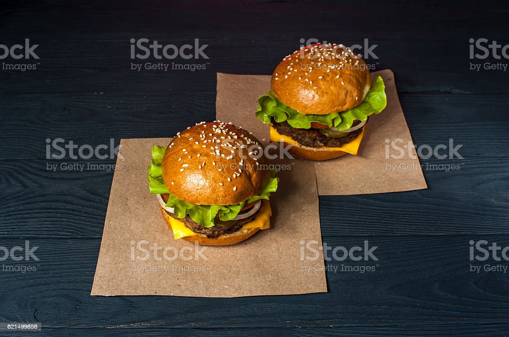 Two appetizing hamburgers with vegetables photo libre de droits