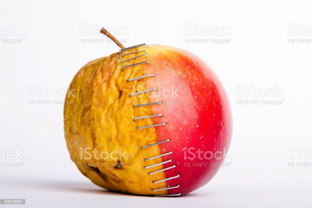 two apple halves stock photo