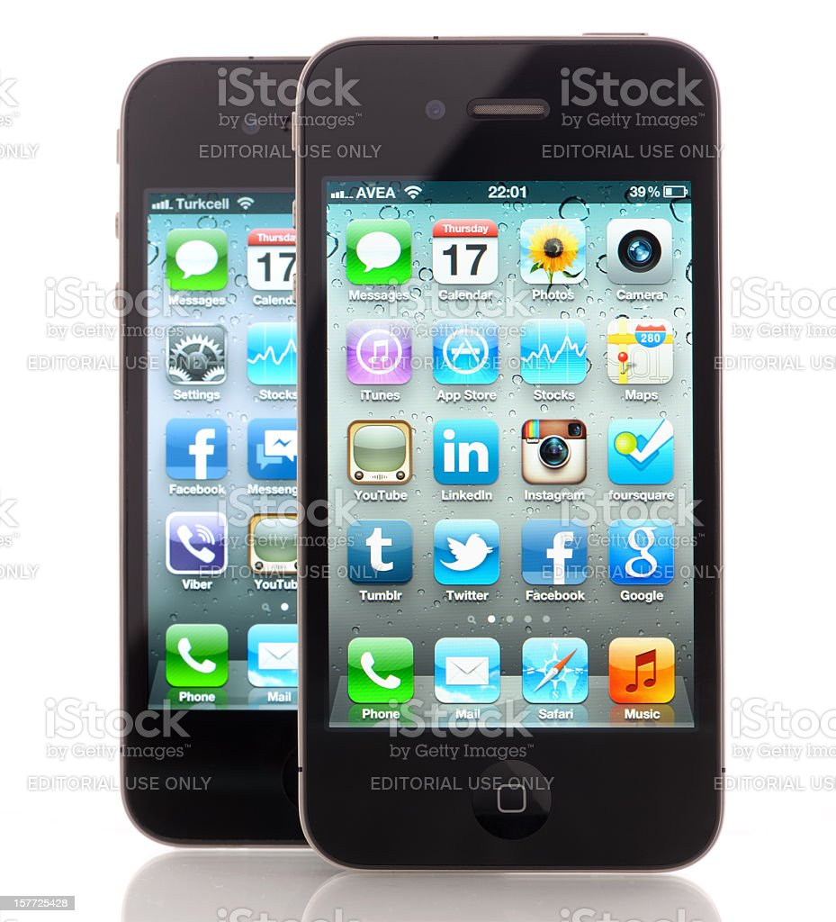Two Apple iPhone 4s royalty-free stock photo