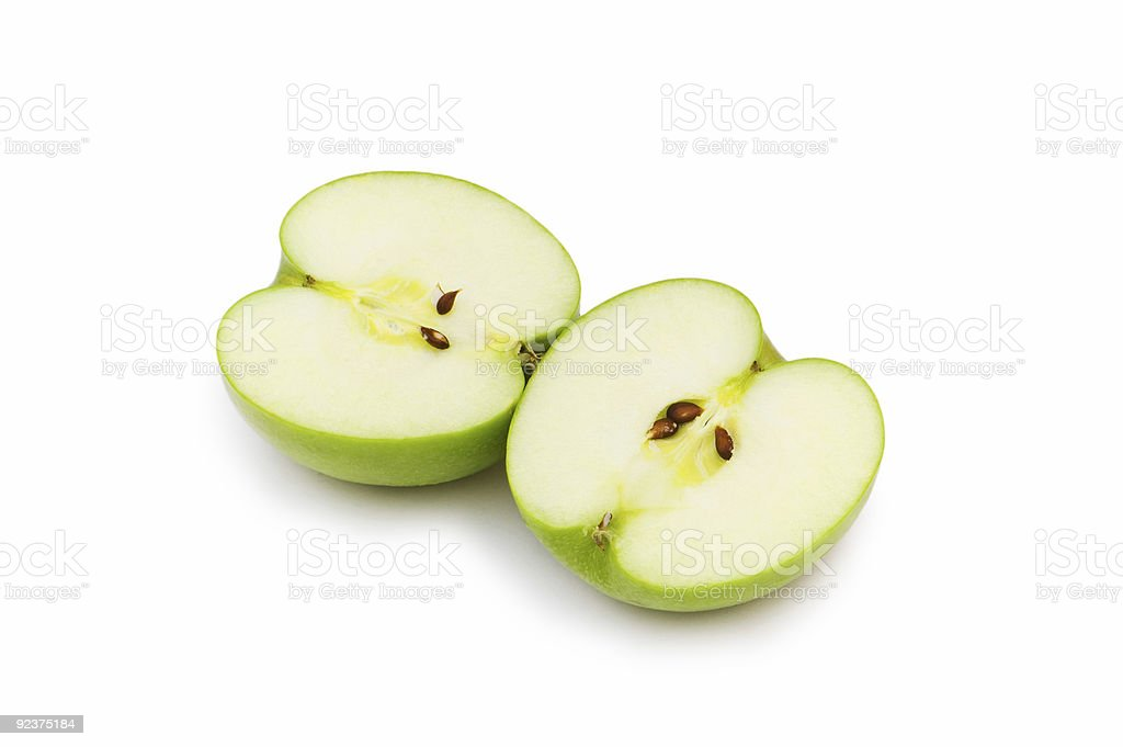 Two apple pieces isolated on the white royalty-free stock photo