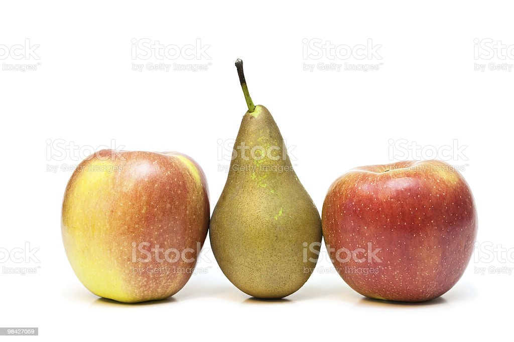 Two apples and pear. royalty-free stock photo