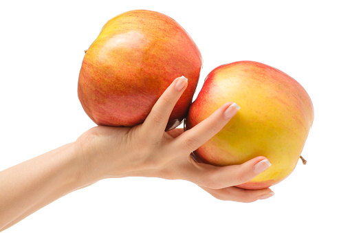 Two apples female hand