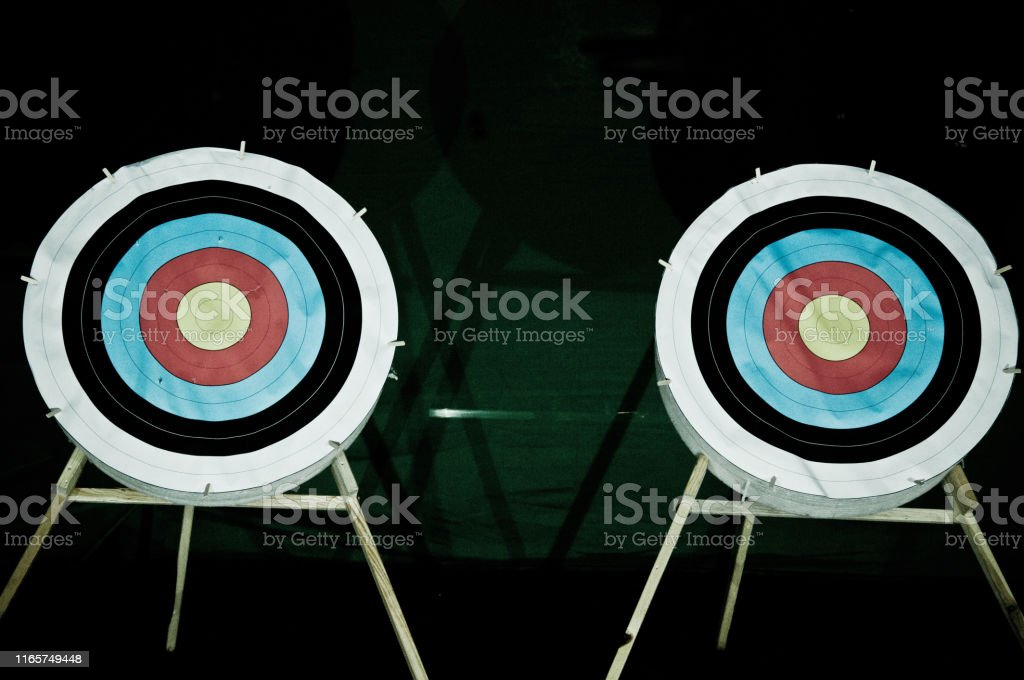 Two archery shooting targets on stands