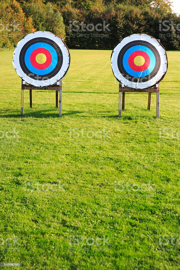 two archery targets in a row on green meadow royalty-free stock photo