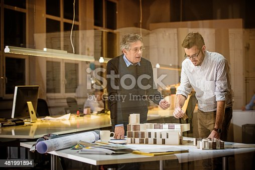 istock Two architects discussing new project 481991894