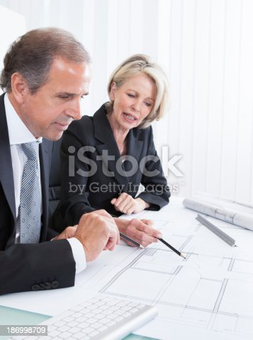 istock Two Architects Looking At Plans 186998709