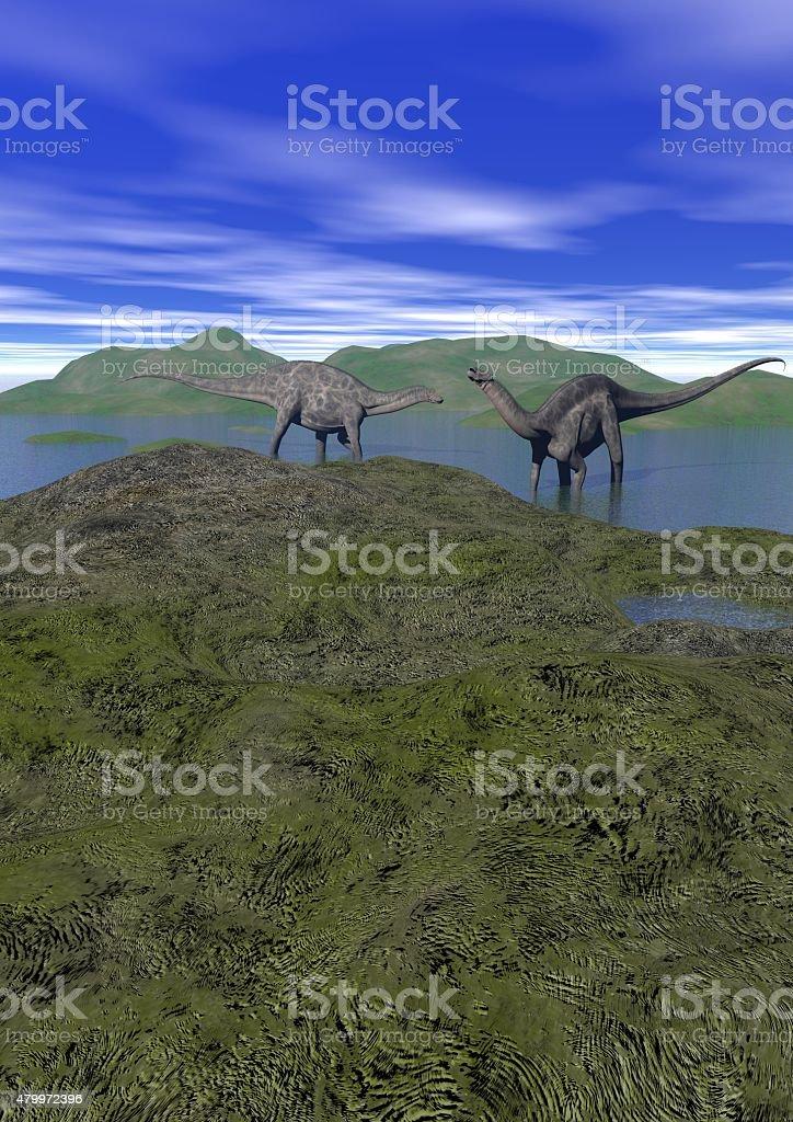 Dos argentinosaurus dinosaurio - 3d render - foto de stock