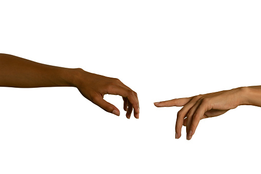 istock Two arms extending towards each other 1175889466