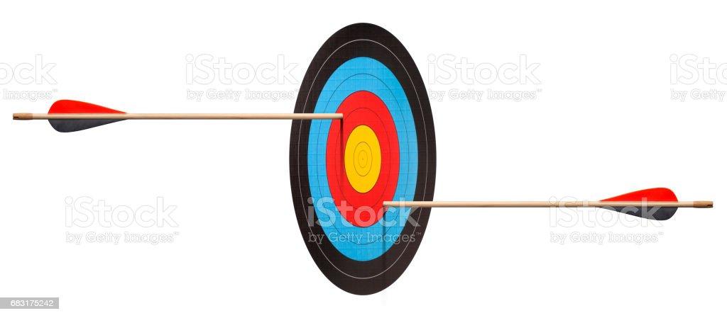 兩箭射中靶子。前瞻性的錯覺。 免版稅 stock photo