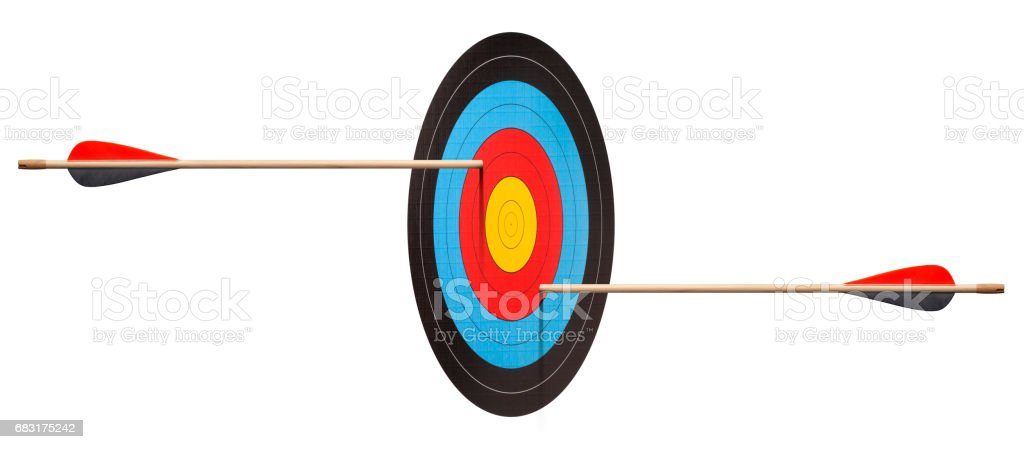 Two arrows hit target. Prospective illusion. stock photo