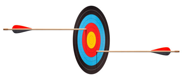 two arrows hit target. prospective illusion. - illusion stock photos and pictures