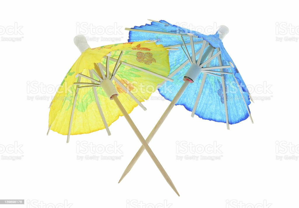 two asian cocktail umbrellas - pure white background royalty-free stock photo