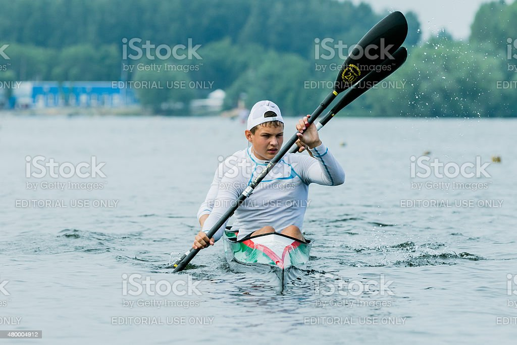 two athlete in a kayak stock photo