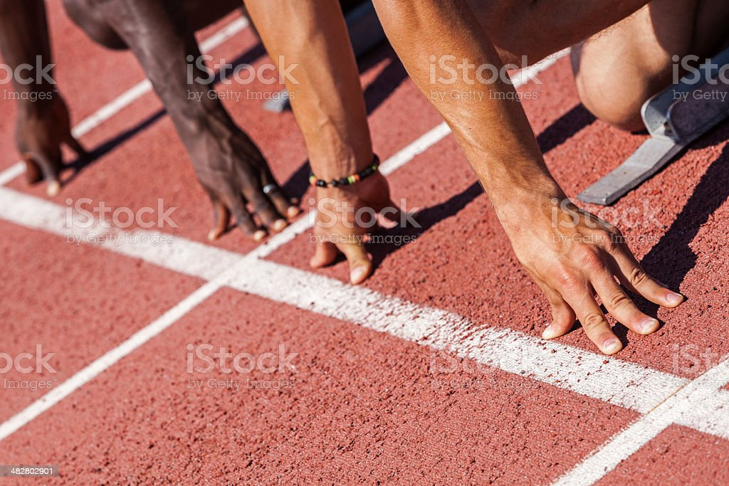 Two Athletes Ready to Start the Race royalty-free stock photo