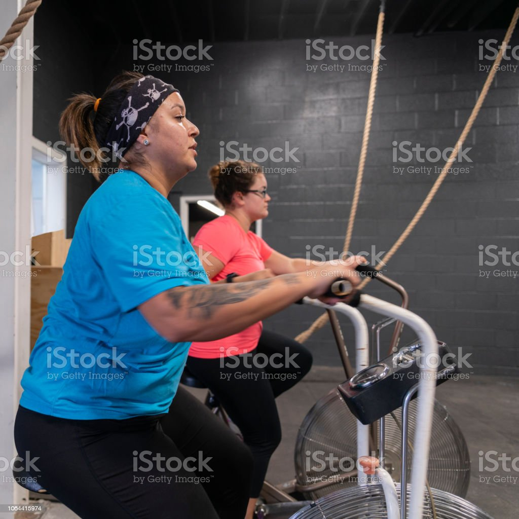 Two attractive body-positive women, Latino and Caucasian, doing a workout on the exercise bike in the gym stock photo