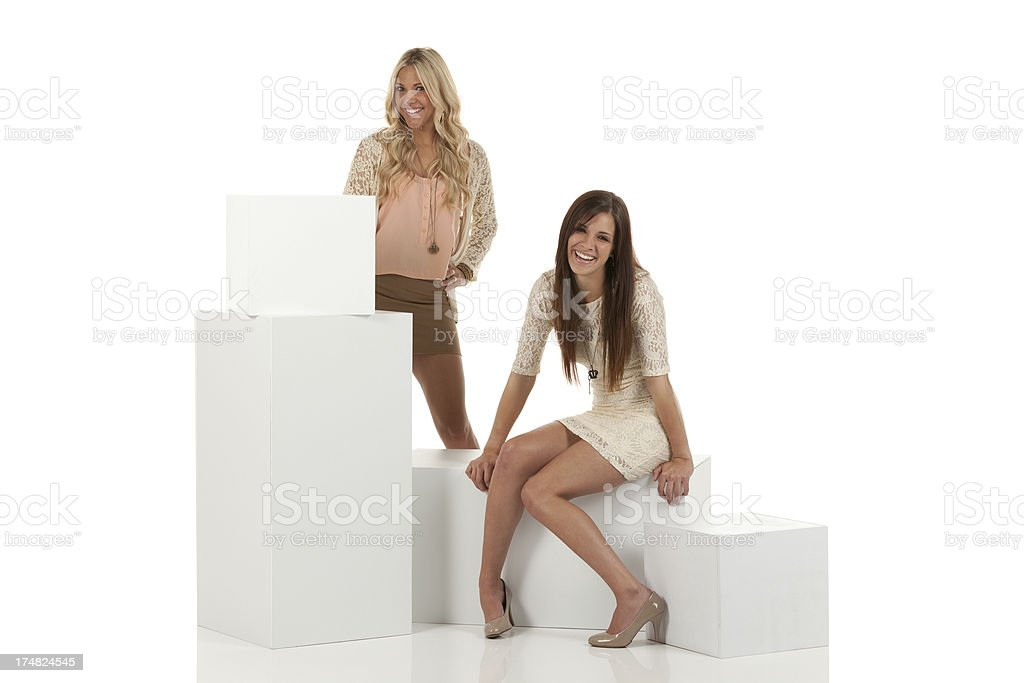 Two attractive females friends with boxes royalty-free stock photo
