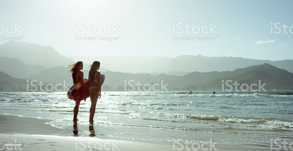 Two Attractive Surfers stock photo