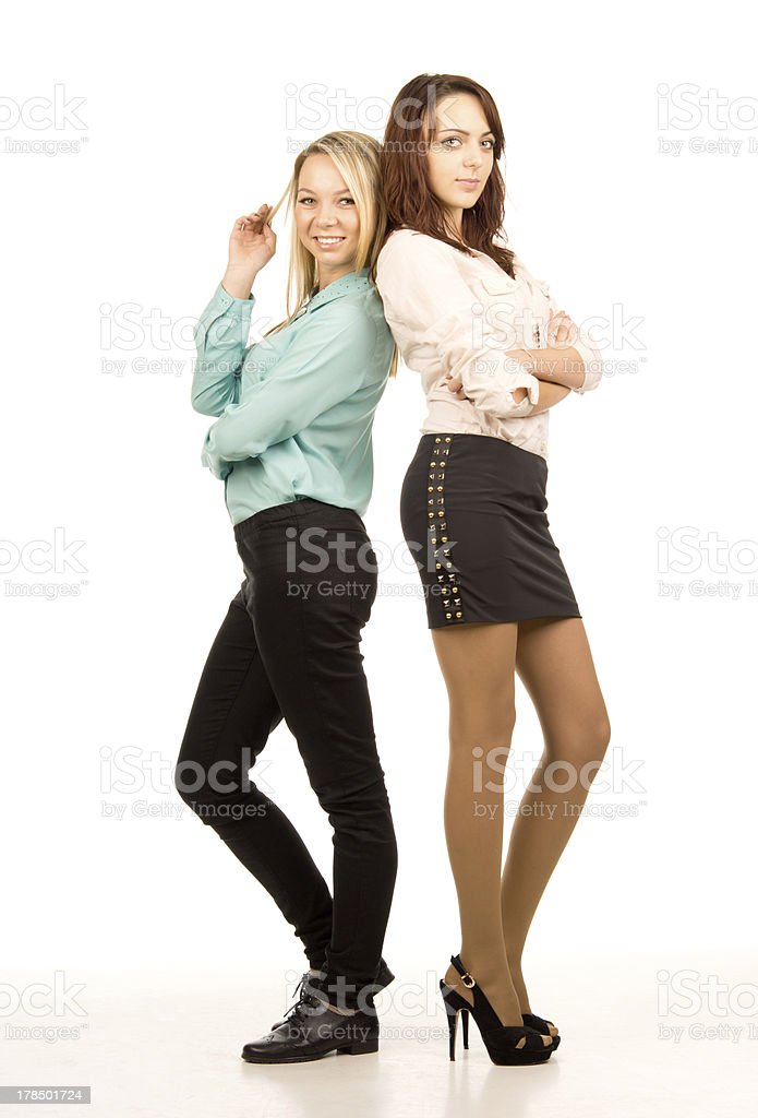 Two attractive young women friends royalty-free stock photo
