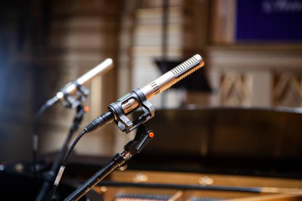 Two audio microphones stock photo