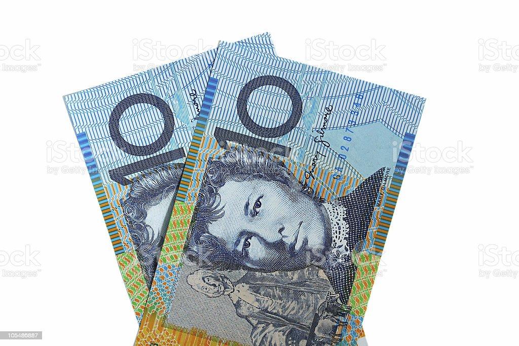 Two Australian Ten Dollar Notes stock photo