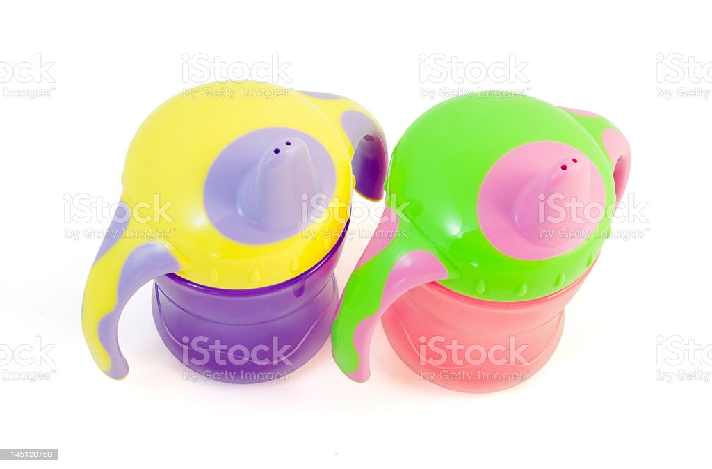 Two Baby Sip Cups stock photo