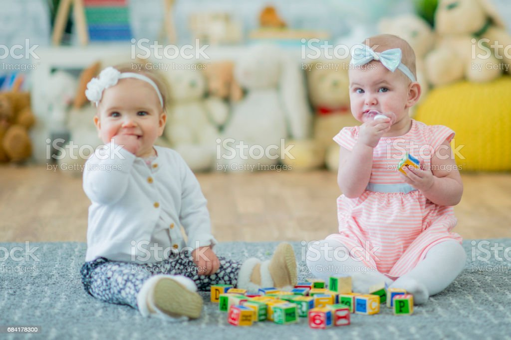 Two Baby Sisters Playing with Toy Blocks royalty-free stock photo