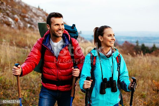 istock Two backpackers hiking 524623745
