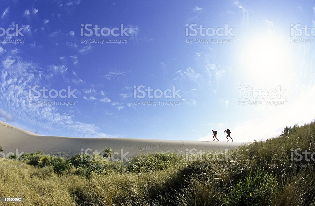 Two backpackers on dunes along coast. photo libre de droits