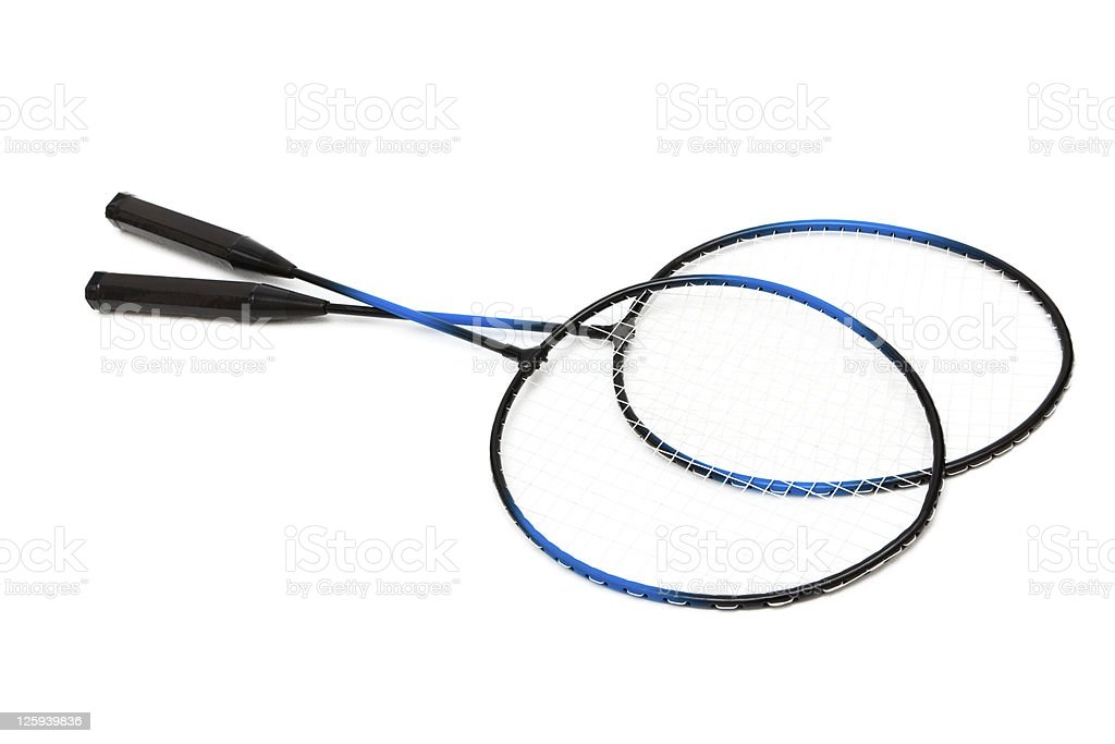 Two badminton rackets on white background royalty-free stock photo
