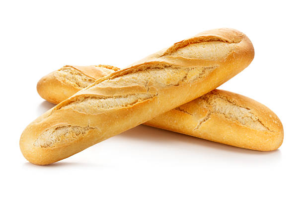 Two Baguettes with Clipping Path stock photo