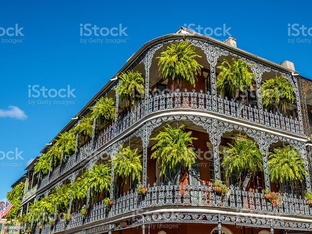 Two Balconies with Plants in the  French Quarter New Orleans stock photo