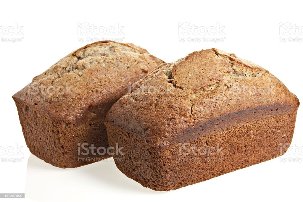 Two Banana Bread Loaves Isolated on White royalty-free stock photo