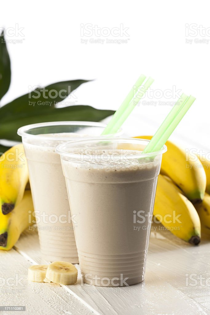 Two Banana Smoothies stock photo