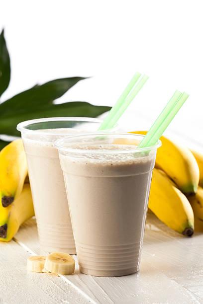 Two Banana Smoothies stock photo