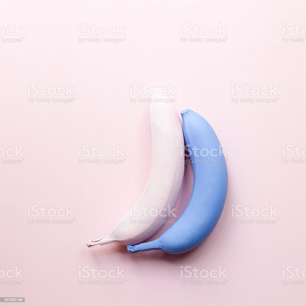 Two bananas. Minimal poster stock photo