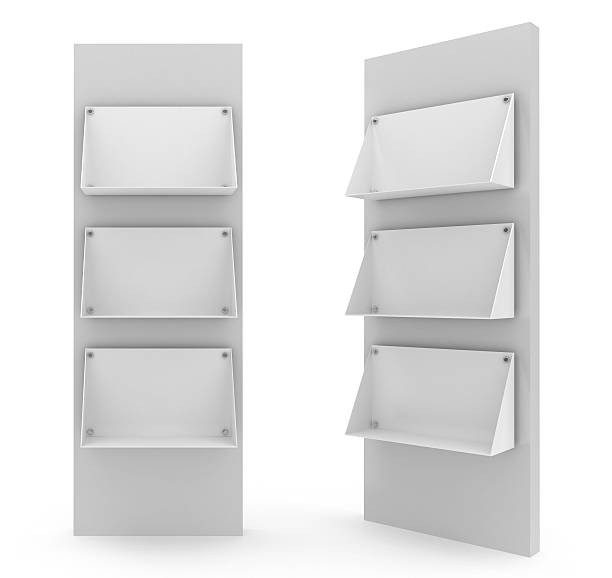 Two bank floor stands in white background 3d blank Floor StandPlease see some similar pictures from my portfolio: magazine rack stock pictures, royalty-free photos & images
