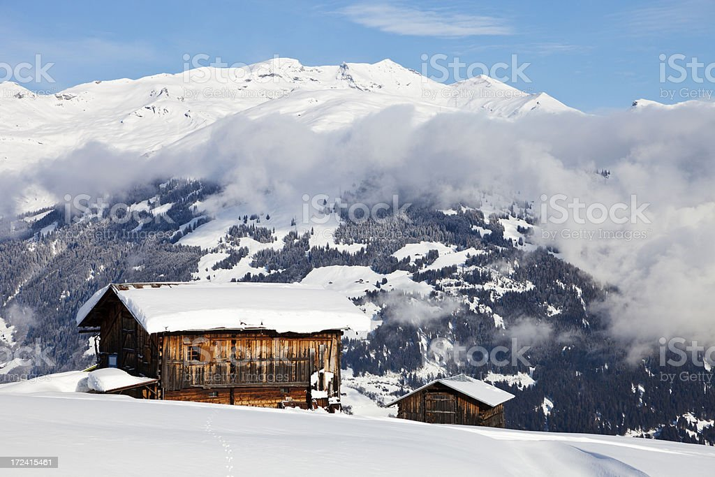 Two Barns in Winter Landscape stock photo