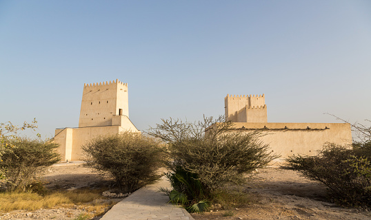Two Barzan watchtowers behind desert bushes, Umm Salal Mohammed Fort Towers, ancient Arabian fortification near and Doha city, Qatar.
