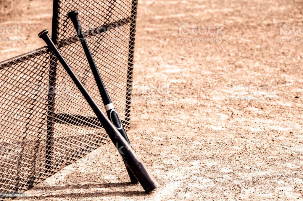 Two baseball bats stock photo